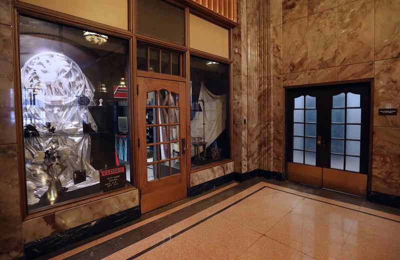 Window displays at the Tulsa Art Deco Museum in the Philcade building.
