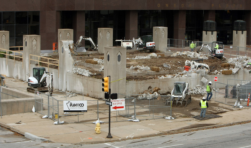 Construction begins on the OneOk Plaza in downtown Tulsa.