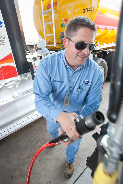 Robert Felts with Gemini Motor Transport fills his truck with CNG at Loves Country Stores in Oklahoma City, OK.