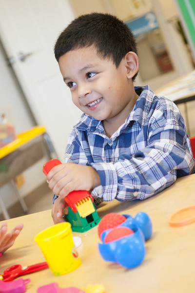 Danny Villanueva at Early Foundations Family Outreach, a daycare at Mayflower Church that specializes in working with autistic children.
