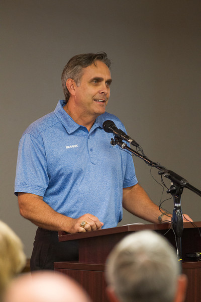 Mark Herrin, with Peak Performance Volleyball, speaking at the announmcemet of Summit Sports Complex. The facility will be built at I-35 and Covell Road in Edmond, OK.