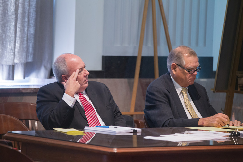 Randy Terrill, on left, sitting next to his attorney Chris Eulberg during the third day of trail at the Oklahoma County Courthouse.