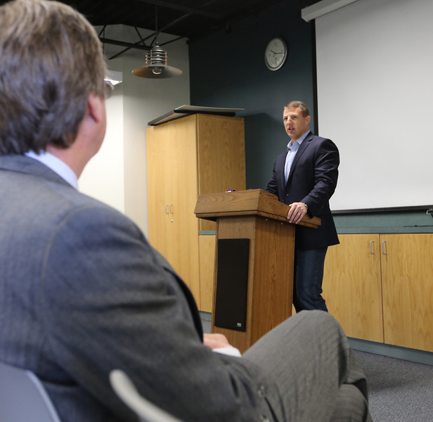 Tulsa Mayor Dewy Bartlett listens as Oklahoma Republican Congressman Markwayne Mullin touted a reform measure in the U.S. Congress that would allow Port of Catoosa to make improvements at the facility and speed repairs.