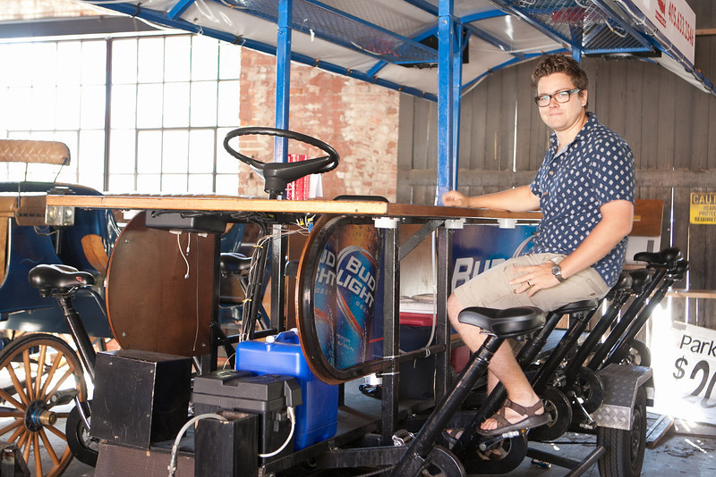 Nick oxford with the Bricktown Bike Bar. A roving bar powered by customers pedeling.