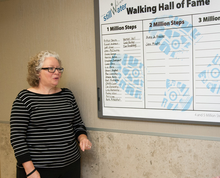 Liz Chrz explaining the wailking leader board at the City of Stillwater offices in Stillwater, OK.