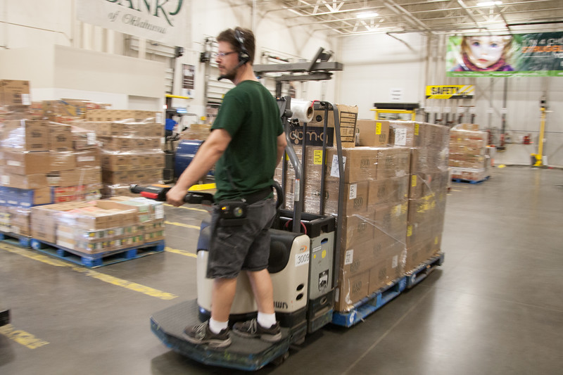 Food being unloaded and sorted at the Regional Food Bank in Oklahoma City, OK.