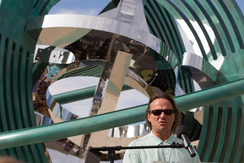"Artist Owen Morrel at the dedication the sculpture ""Compass Rose"" in the boathouse district in Oklahoma CIty, OK."