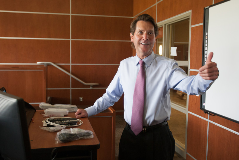 Steve Agee, Dean of the Mienders School of Business at Oklahoma City University, in one the new executive classrooms.