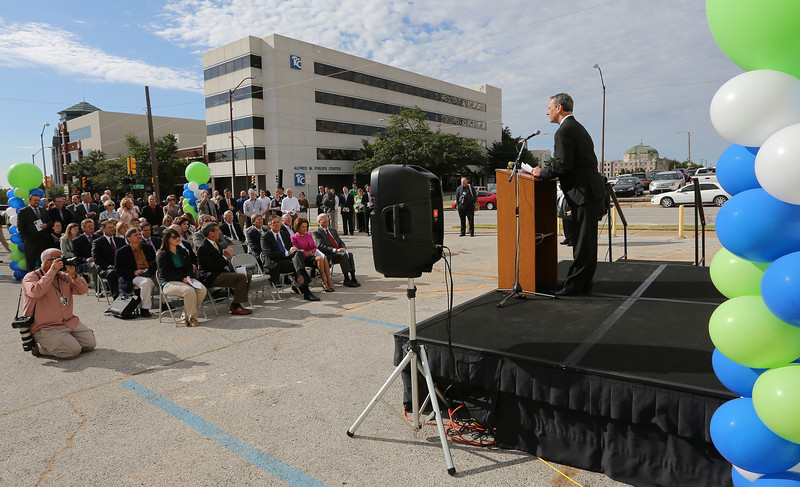 Thomas McKeon, President of Tulsa Community College, speaks at the ground breaking of the TCCs Nate Waters Physical Therapy Clinic expansion in downtown Tulsa.