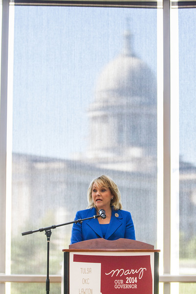 Gov Mary Fallin announces her intentions to run for a second term in the 2014 election for governer at the Oklahoma Historical Socioty.