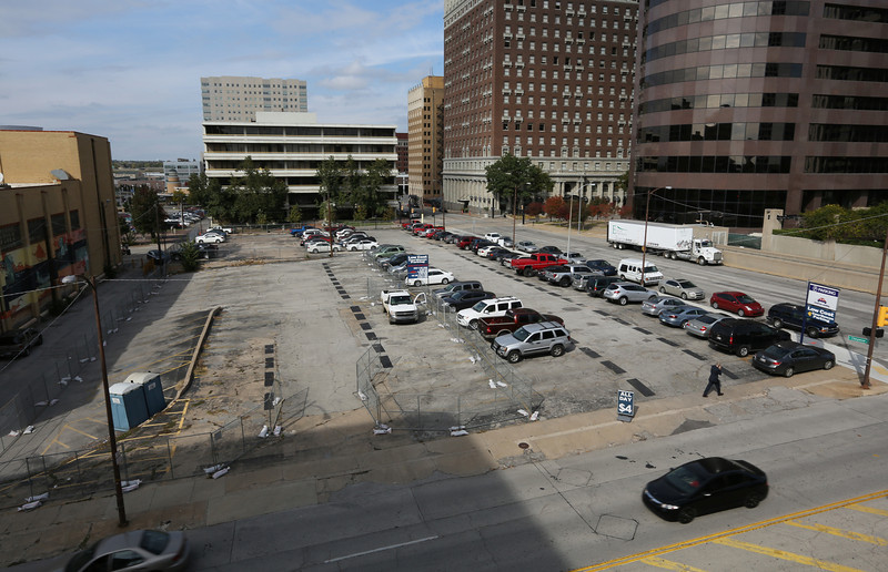 The parking lot at the corner of 6th and Cheyenne in downtown Tulsa was recently purchased.