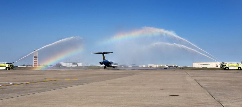 Allegiant Airlines flight  from Tulsa to Orlando Florida Friday taxis out for its departure under a water canon salute.