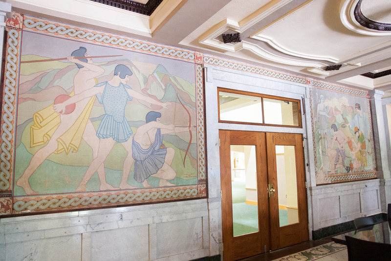 A mural by Olinka B Hrdy at the new location of the OCU law school is being removed for restoration.