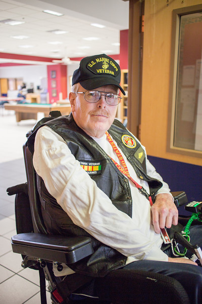 Resident Mike Simmons in front of the activities center at the Norman Vet Center.