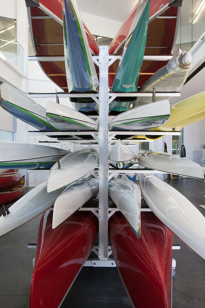 Canoes and racing canoes at the Devon Boathouse in Oklahoma City, OK.