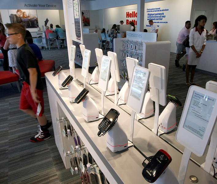 The various phones on display at the U.S. Cellular interactive cell store which recently opened in Bixby.