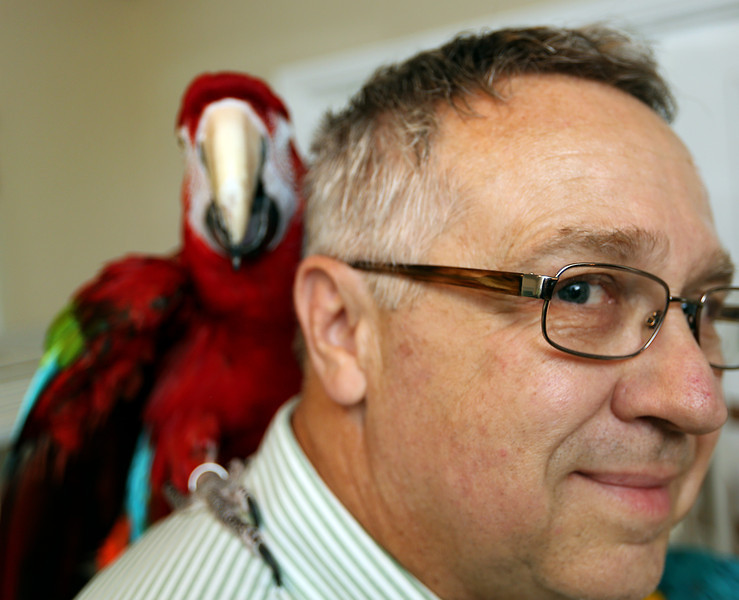 Jim Geurin the President of the Oklahoma Avicultural Society and his pet macaw Belle.