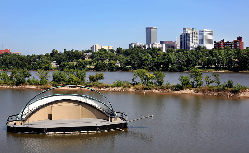 The River West Festival Park floating stage on the West bank of the Arkansas River near downtown Tulsa.