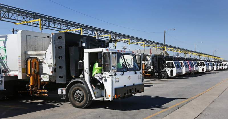 Mike Almy backs his truck into the CNG filling station at the NeWSolutions yard in Tulsa.