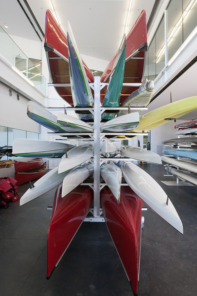 Conoes and racing canoes at the Devon Boathouse in Oklahoma City, OK.
