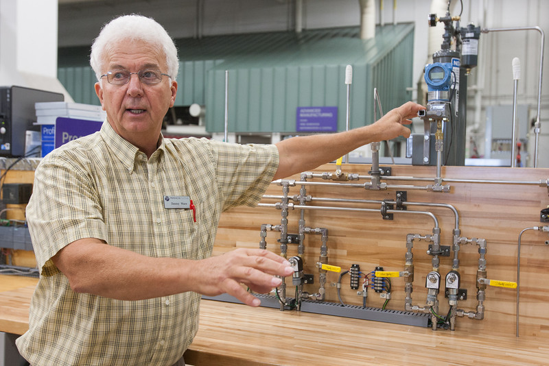 Danny Ware, instructor of advanced manufacturing, instrumentation and control program at Francis Tuttle Technology Center, and his students built a miniature version of a compressed natural gas dispensing unit. The model will be used in the skills portion of a new state licensing exam, required for all technicians who maintain CNG fuel dispensing stations.