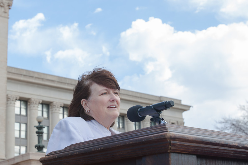 Rep. Lee Denney speaking at a rally for education funding held at the Oklahoma State Capitol in Oklahoma City, OK.