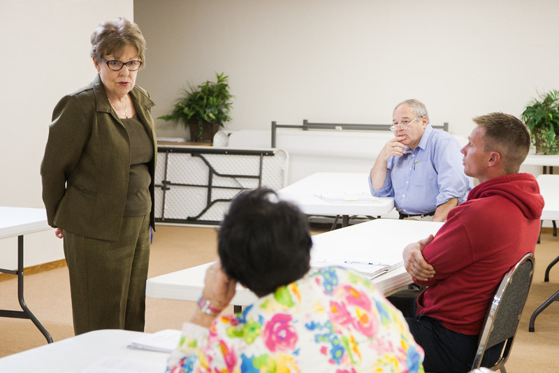 Caroline Jarvis (left) teaches students at Barnes Real Estate School in Moore, OK.