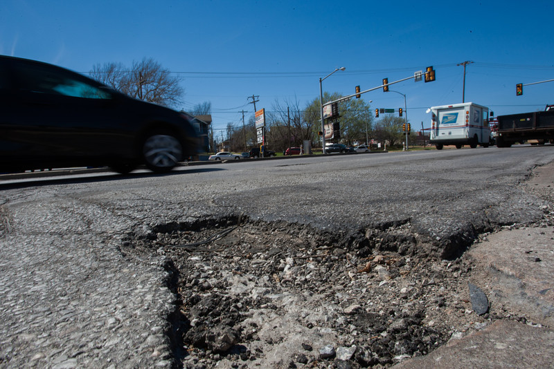 A large pot-hole at NW 13th and Classen in Oklahoma CIty, OK