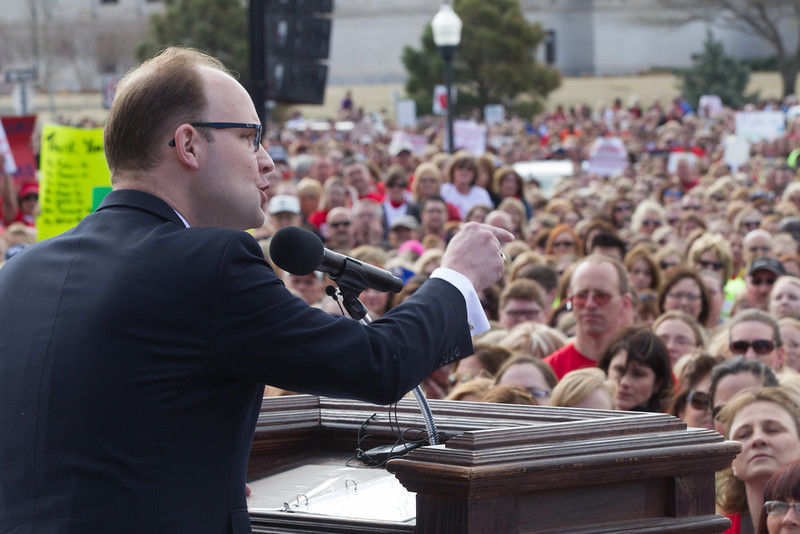 Rep. Scott Inman speaking at a rally for educational funding held at the Oklahoma State Capitol.