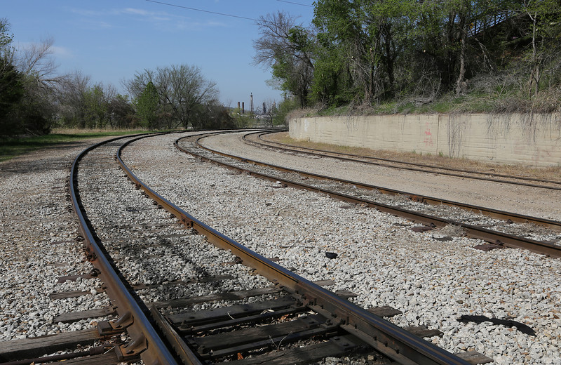 Train tracks leading from downtown tulsa to Sapulpa.