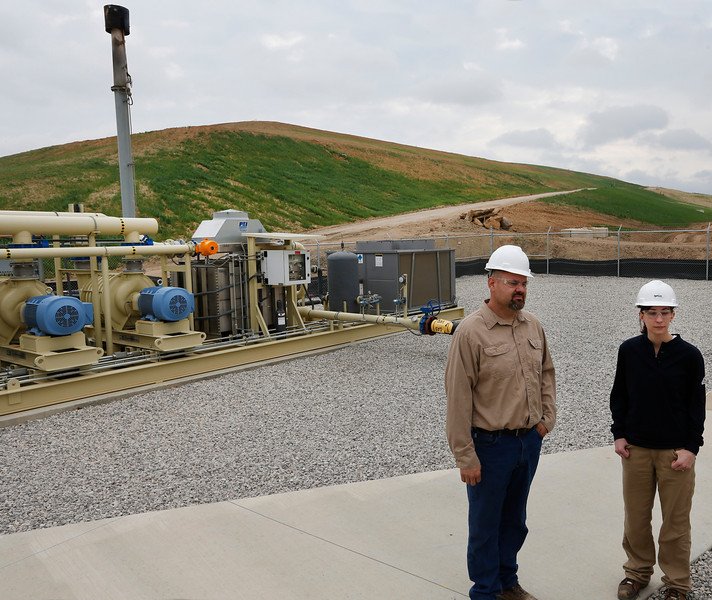 PowerPlant Manager Adam Andara and Enviromental Specialist Michon Mulder of Montauk Energy at the Sand Springs waste to energy landfill.