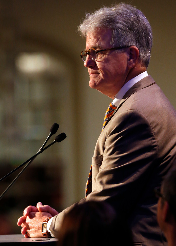 Oklahoma Senator Tom Coburn gives his presentation at the Congressional Forum breakfast in Tulsa.