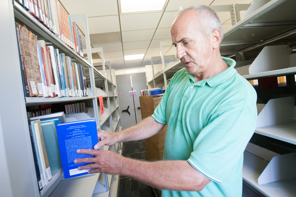 Randy Thomas moving the Oklahoma CIty Law library to their new location in downtown Oklahoma CIty.