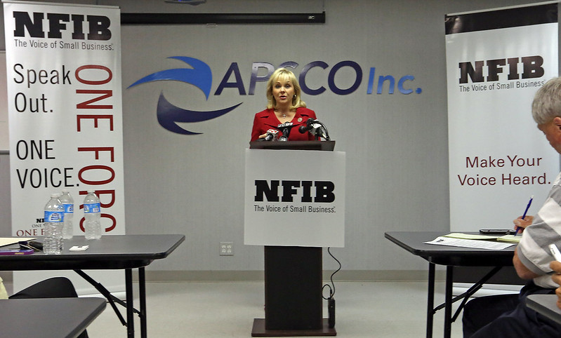 During a campaign stop Governor Mary Fallin announced Thursday at a press conference in Tulsa the endorsement of the National Federation of Independent Businesses.