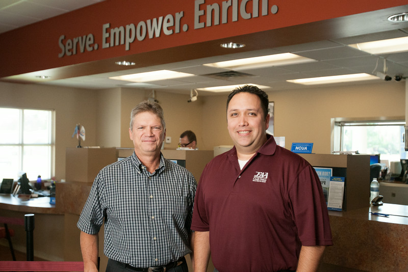 President Steve Rassmusen and branch manager Danial Garcia at FAA Credit Union ocated at 3805 S Western in Oklahoma City, OK.