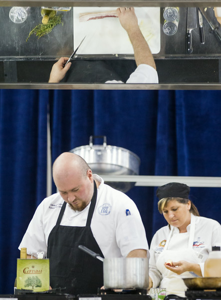 Chris McCabe, with A Good Egg Dining Group, competes in the Culinary Cook-off at the Oklahoma Restaurant Association convention.