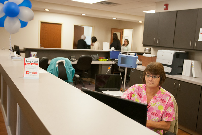 Nruse Linda Mott working in the new wing of the Mary Mahoney Health Center in Spencer, OK.