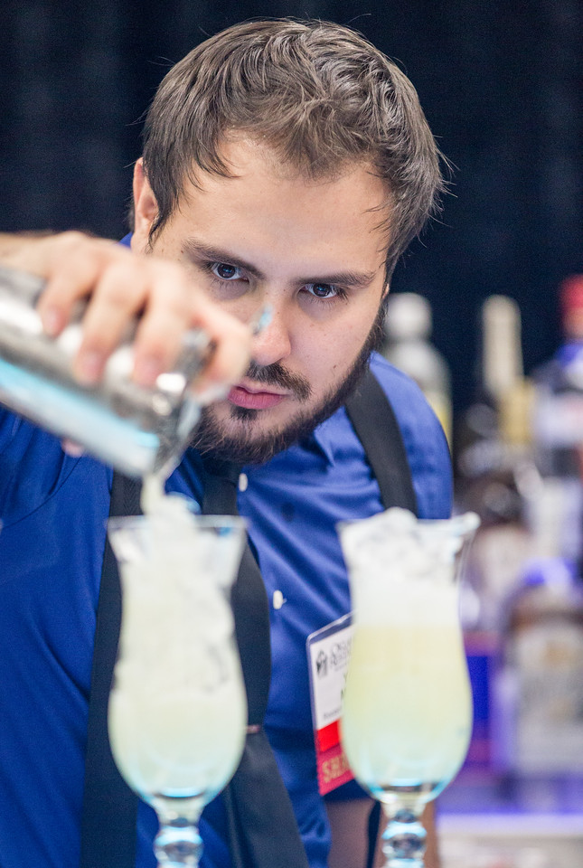 Yousef Martines, with Rococo Restaurant and Wine Bar, competed in a bartending contest at the Oklahoma Restaurant Association convention at the Cox Convention Center in Oklahpma CIty, OK.