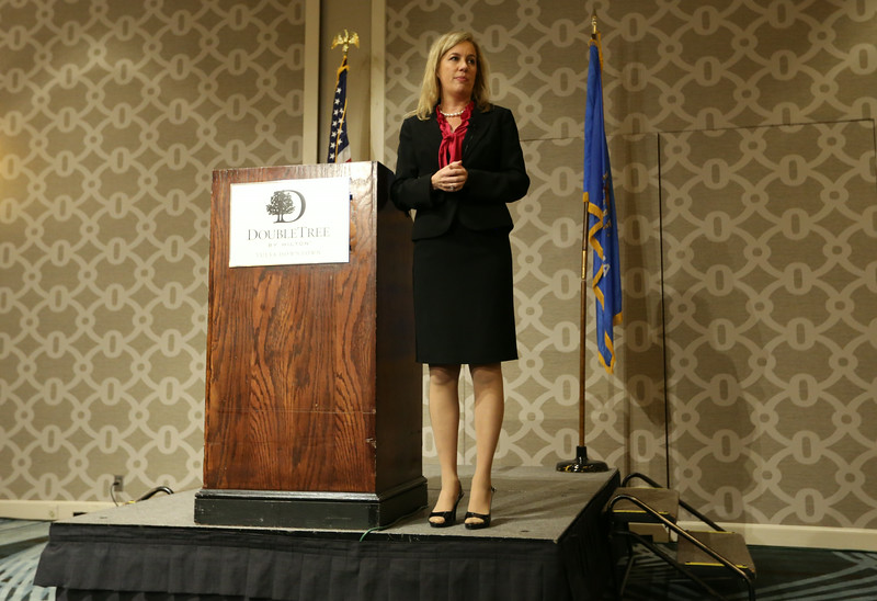 Cynthia Cooper, fives her presentation to the Oklahoma Business Ethics Consortium members Tuesday in Tulsa.