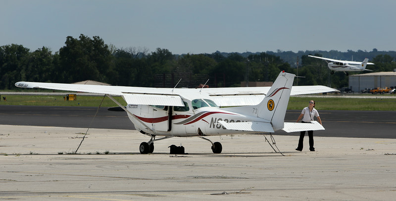 A Spartan School of Aeronautics student pilot does her pre-flight aircraft check at the R.L. Jones airport in Jenks.
