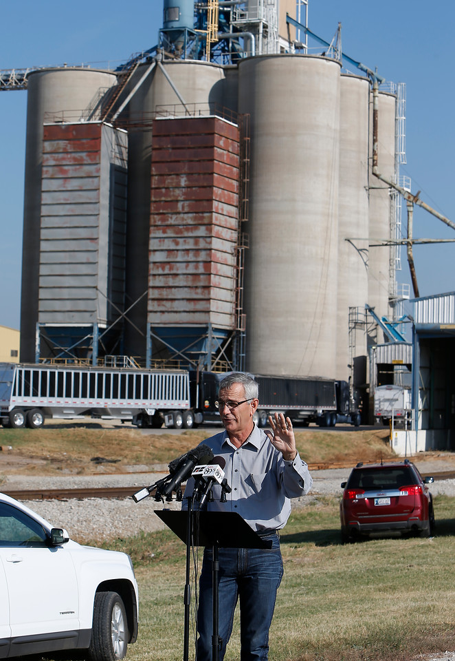 Oklahoma Secretary of Agriculture Jim Reese discusses the importance of the Tulsa Port of Catoosa during a press conference on Thursday at the port.