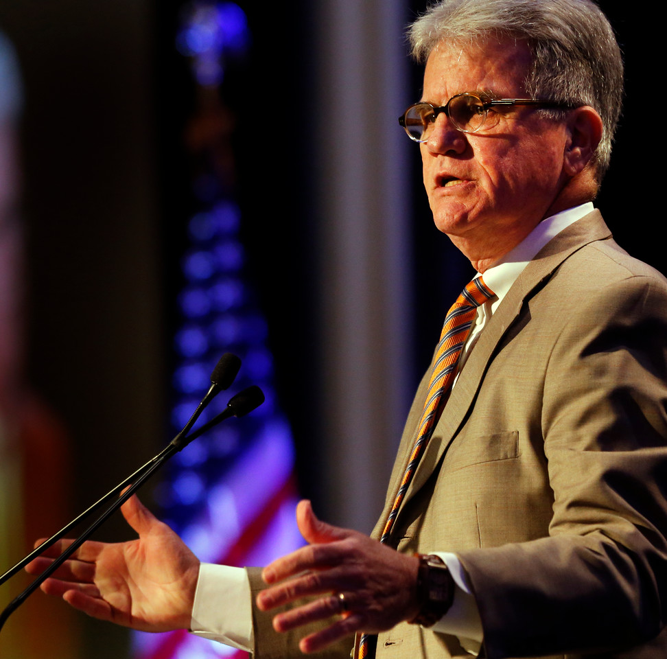 Oklahoma Senator Tom Coburn gives his presentation at the Congressional Forum breakfast in Tulsa.