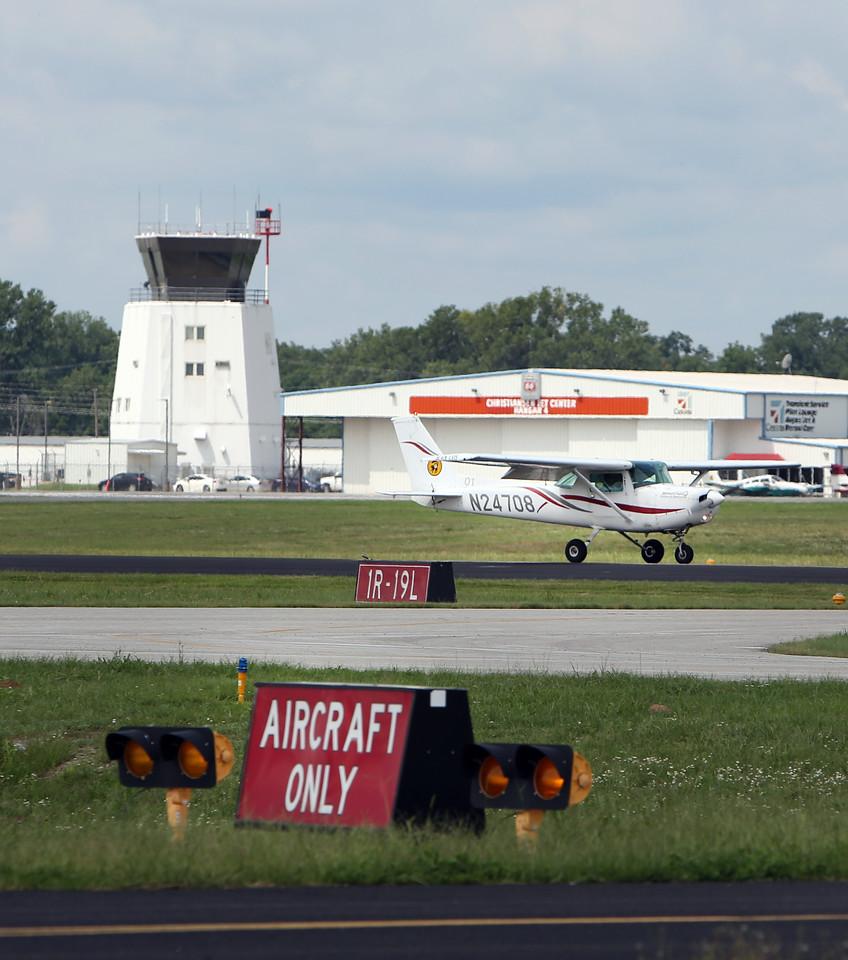 A Spartan School of Aeronautics student pilot lands  at the R.L. Jones airport in Jenks.