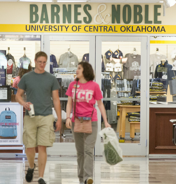 Students leaving the Barnes & Noble book store in the NIegh University Center at UCO in Edmond, OK.