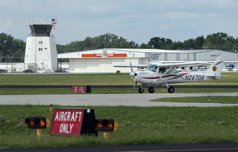 A Spartan School of Aeronautics student pilot lands  at the R.L. Jones airport in Jenks.