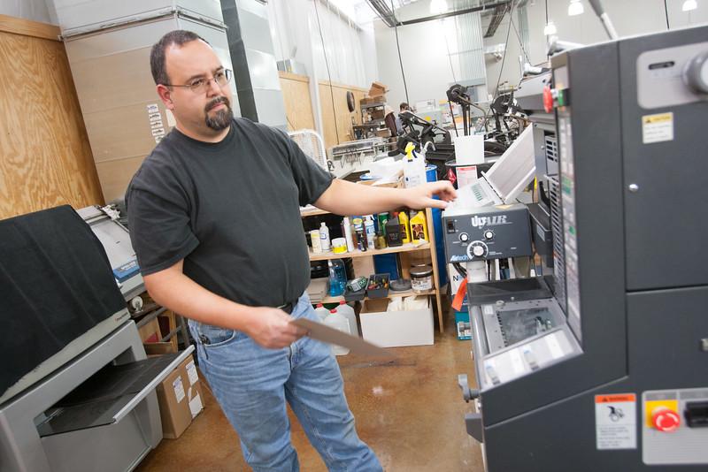 Chris McNeece, pressman with Texoma Print Service in Durant, OK.