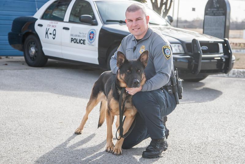 Oklahoma City Police officer Sgt Chris Spillman with his K-9 partner Tank.