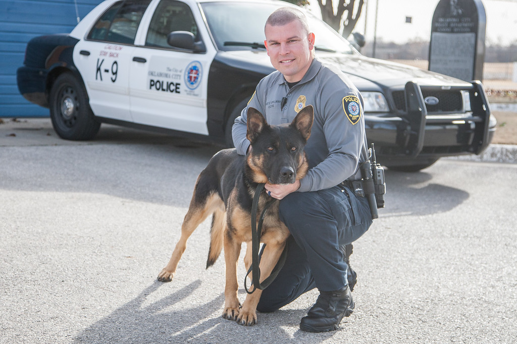 Oklahoma City Police officer Sgt Chris Spillman with his K-9 partner Tank.