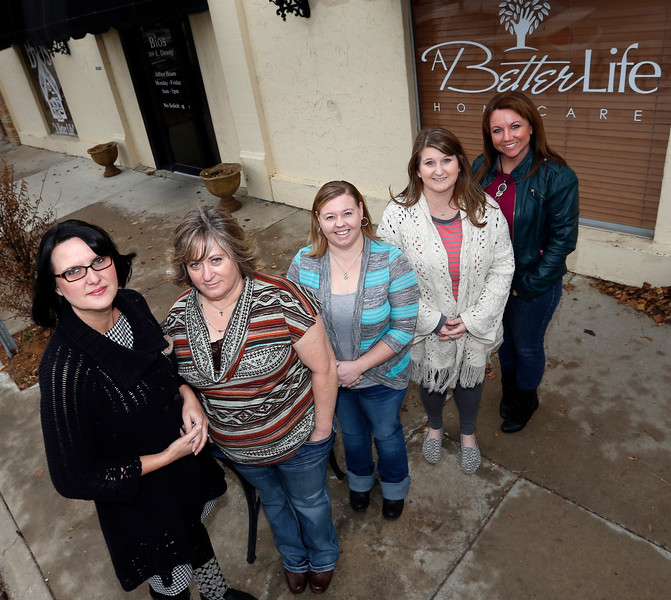 Kim Weir, Executive Director of A Better Life and her staff Rhonda Myers, Madie Hill, Carri Carey and Julie Novak.
