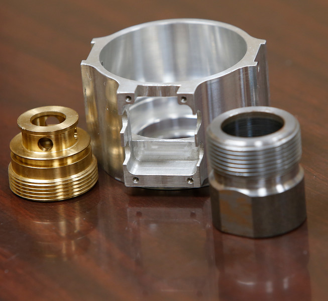 Examples of the machined parts produced at SBS industries in Tulsa.